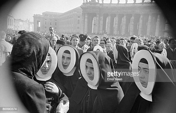 A group of nuns in St Peter's Square Vatican City circa 1955