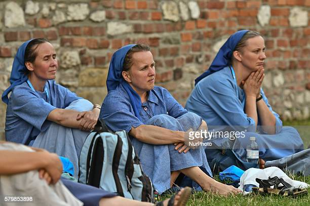 A group of Nuns watching a concert near Planty Park Pilgrims from all around the world on the eve of the World Youth Day 2016 take part in concerts...