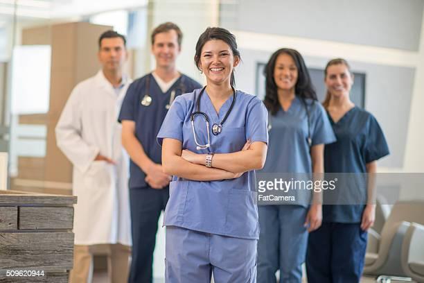 Groupe de infirmières à la clinique