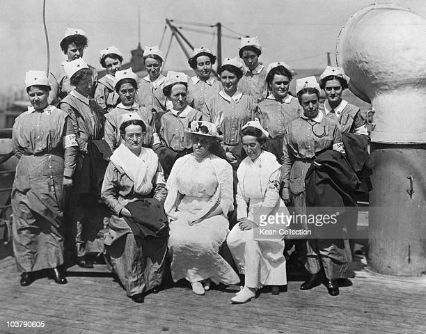 A group of nurses pictured in uniform on board the SS Red Cross one of the first units of American Red Cross nurses to sail from New York for service...