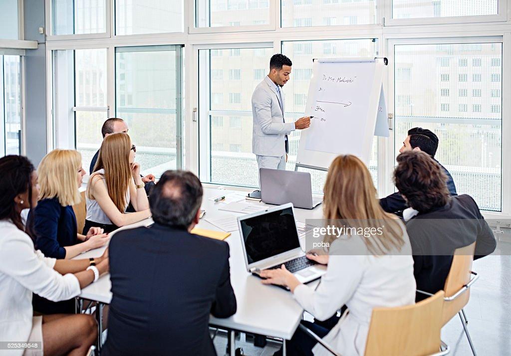 Gruppe von Büro Arbeitnehmer in einem boardroom Präsentation : Stock-Foto