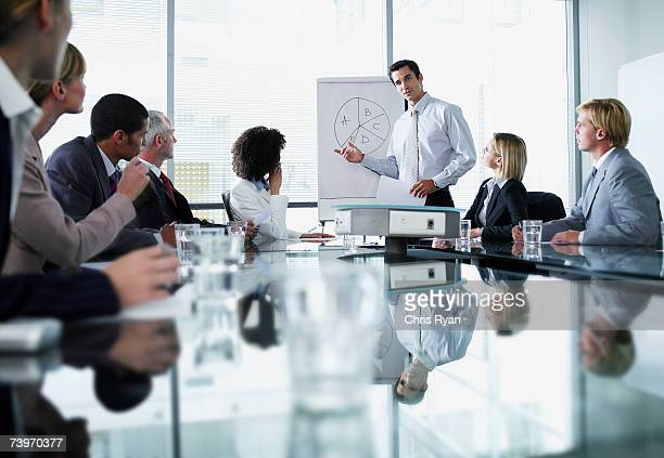 group of office workers in a boardroom presentation - sports training stock pictures, royalty-free photos & images