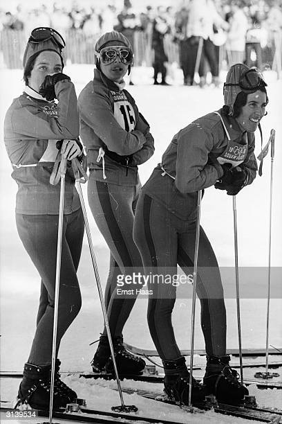 A group of Olympic skiers in Squaw Valley California during the Winter Olympics