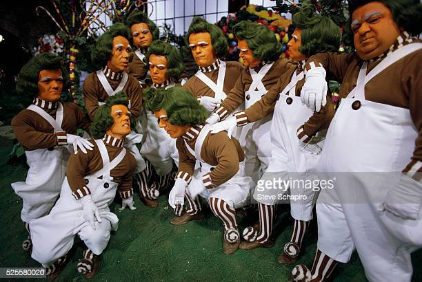 Group of Oompa Loompa characters on the set of the movie Willy Wonka the Chocolate Factory