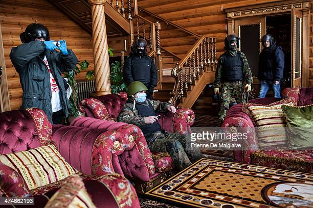 A group of opposition activists take over a mansion allegedly connected to former Ukrainian president Yanukovich's family and close circle February...