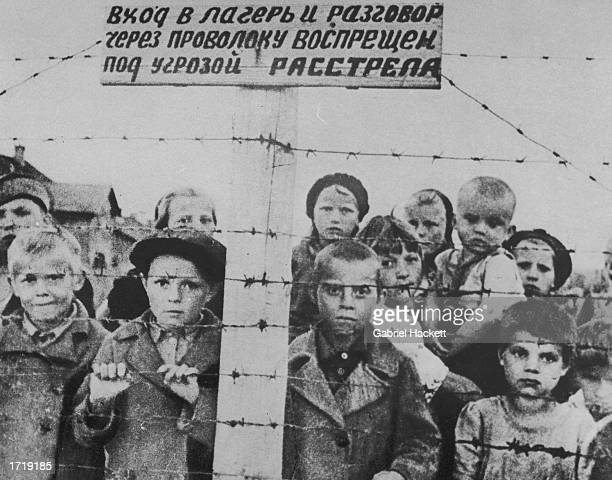 A group of orphaned children stand behind a barbedwire fence inside a concentration camp in Germanoccupied Russia World War II circa 1942 The Russian...