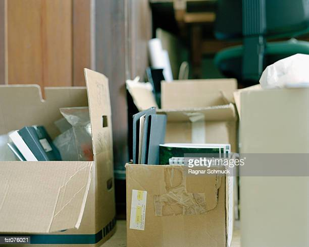 A group of packed cardboard boxes