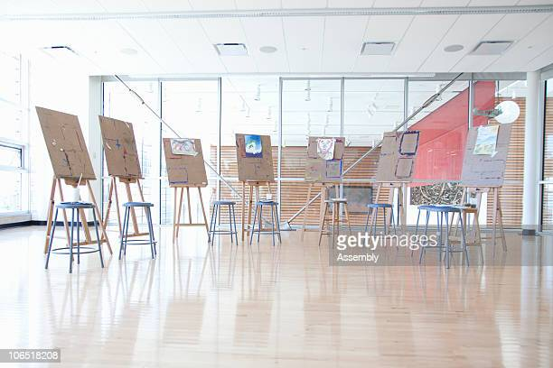 Group of painting easels in an art classroom