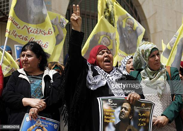 A group of Palestinian gather to hold a demonstration demanding the release of Marwan Barghouti leader of the Palestinian group Fatah prisoned in the...