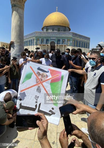 Group of Palestinians protest against United Arab Emirates and Crown Prince of Abu Dhabi, Mohammed bin Zayed Al Nahyan following the Friday prayer at...