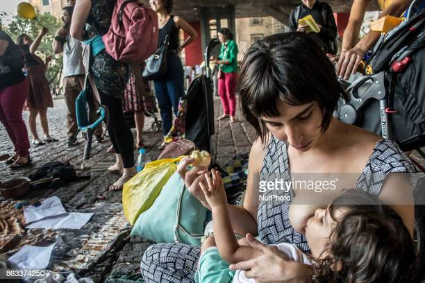 A group of parents and their children protest against a programe to allegedly improve the nourishing of students and fight hunger in Sao Paulo Brazil...