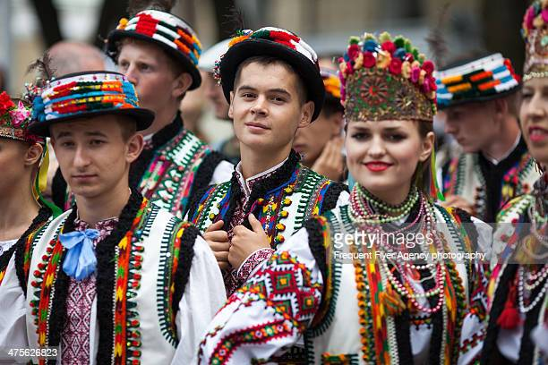 Group of participants of Independence day in Kiev, Ukraine. Independence Day is the the biggest and most important state holiday in Ukraine. On...