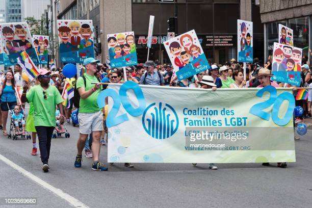 Group of participants of LGBTQ Pride Parade in Montreal.