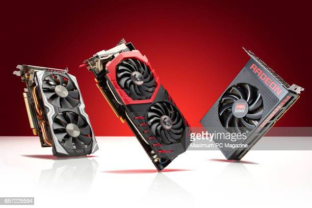 A group of PC graphics cards including a Zotac GeForce GTX 1060 AMP Edition MSI Radeon RX 470 Gaming X 8G and an AMD Radeon RX 480 8GB taken on July...