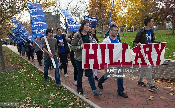 A group of Penn State students march through campus imploring voters to cast their ballots for Hillary Clinton in the presidential election on...