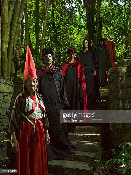 group of people about to preform a ritual - las posas stock pictures, royalty-free photos & images