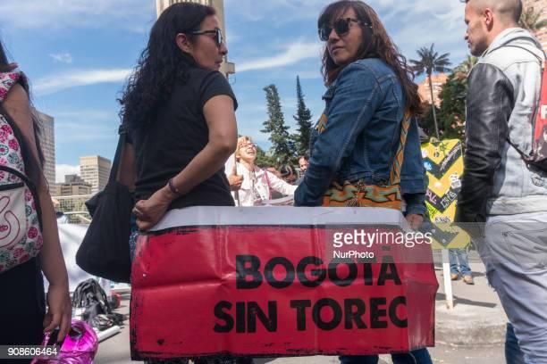 A group of people against the bullfight protest the 2018 season in the Plaza de Bolívar Bogotá Colombia on 21 January 2018