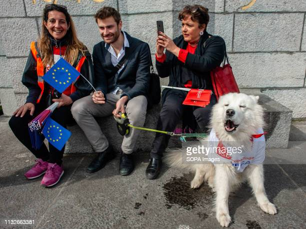 A group of people are seen seated while holding EU flags with a dog wearing a t shirt during the protest A day before the anniversary of the founding...