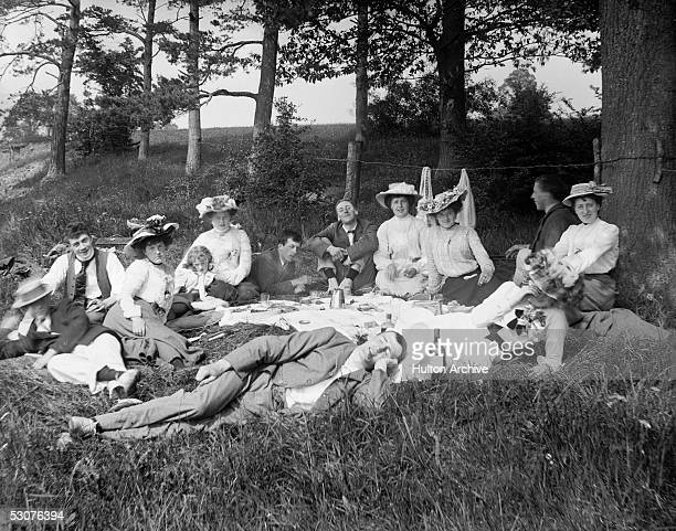 A group of people at a country picnic near Hereford 1901