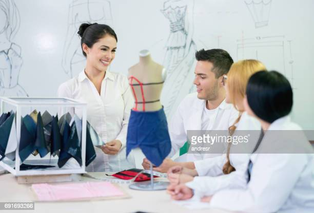 Group of people at a fashion design school