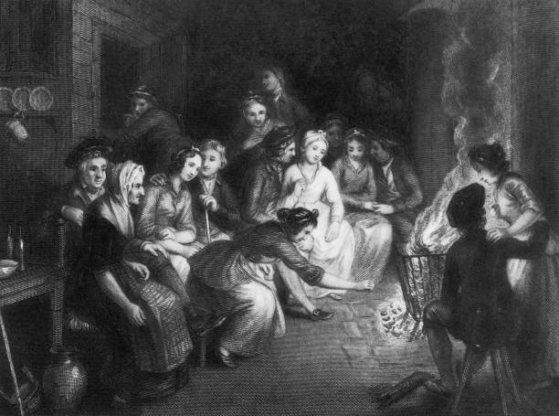 A group of people at a Halloween gathering in Scotland,...