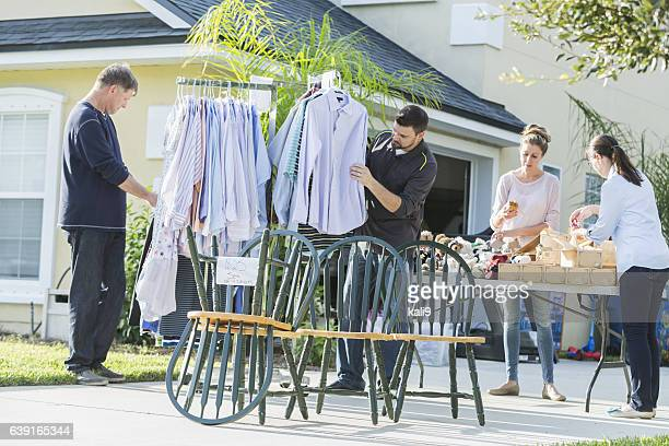 Group of people at a yard sale