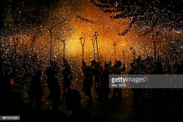 Group of people at Correfoc firerun, Catalonia, Spain