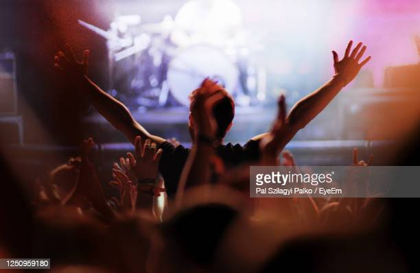 group of people at music concert - popular music concert stock pictures, royalty-free photos & images