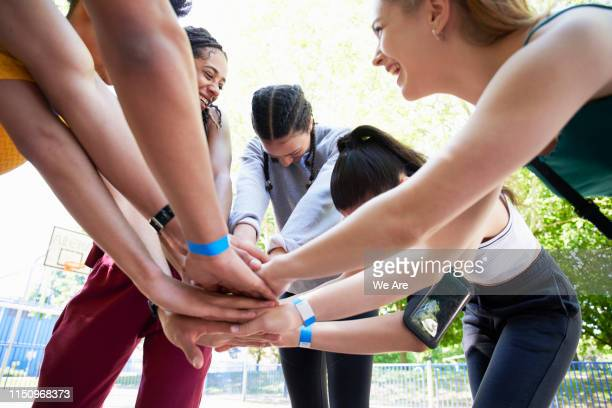 group of people bonding before sports event - sports event stock pictures, royalty-free photos & images