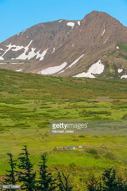 a group of people camping near powerline pass in the chugach state park on a summer day in south central alaska; alaska, usa - chugach state park stock pictures, royalty-free photos & images