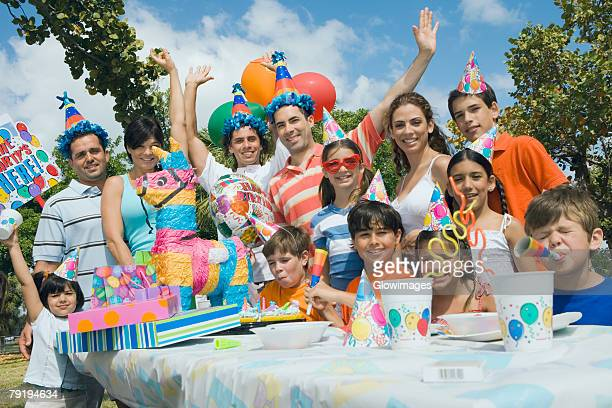 Group of people celebrating a birthday party