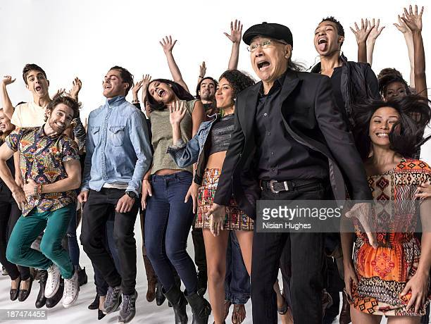 Group of people celebrating and jumping in the air