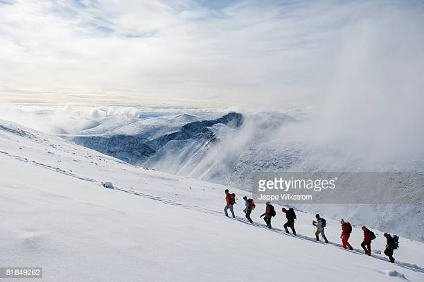 A group of people climbing Kebnekaise Sweden.