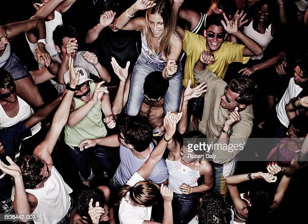 group of people dancing, elevated view - dancing stockfoto's en -beelden