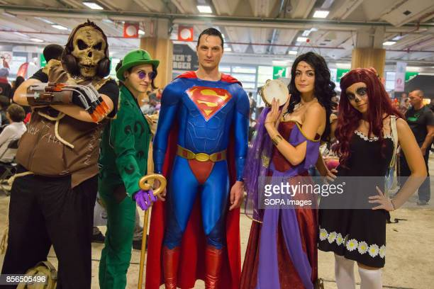 A group of people dressed as manga characters are pictured during the 24th edition of the Paris Manga SciFi Show mostly devoted to Japanese...