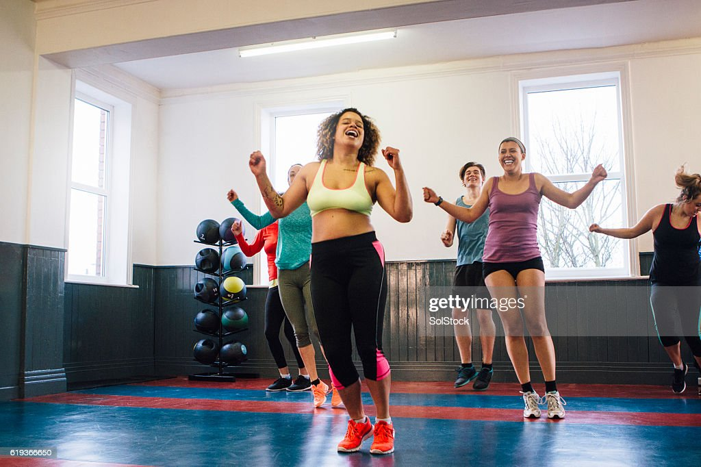 Group of People Enjoying an Exercise Class : Stock Photo