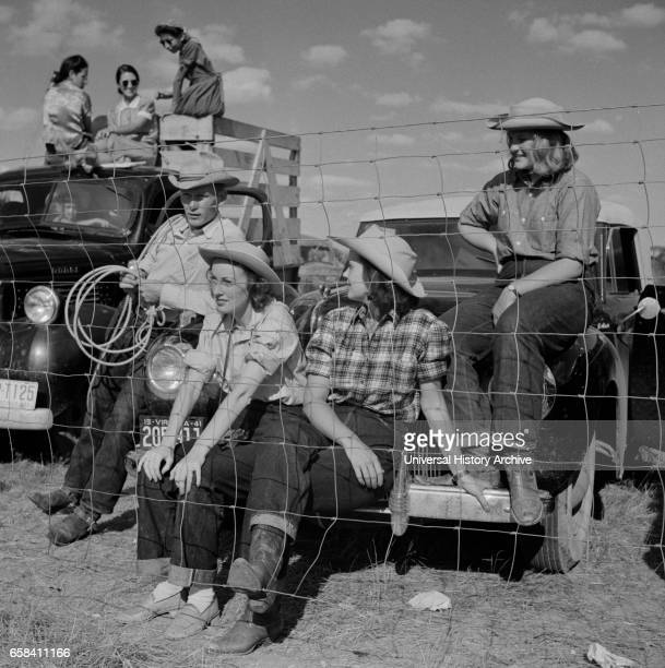 Group of People from Local Ranch watching Crow Fair Crow Agency Montana USA Marion Post Wolcott for Farm Security Administration July 1941Marion Post...