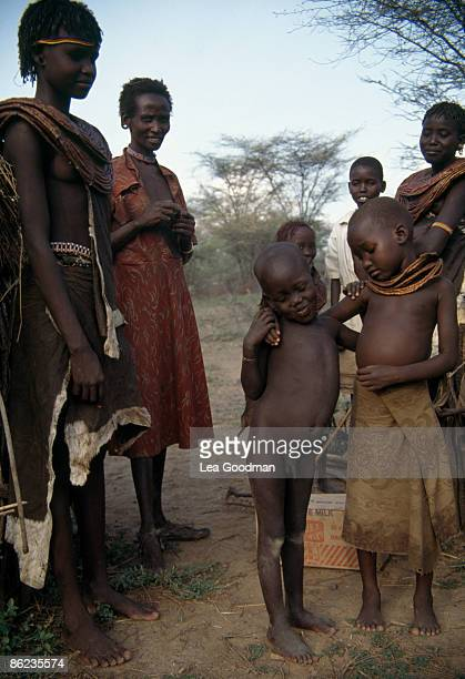 A group of people from the Samburu tribe of northern Kenya circa 1995