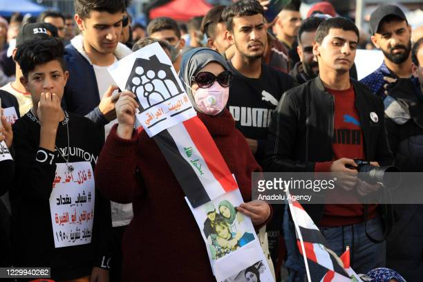 Group of people gather at Tahrir Square during a demonstration to protest against the tension between demonstrators and supporters of the leader of...