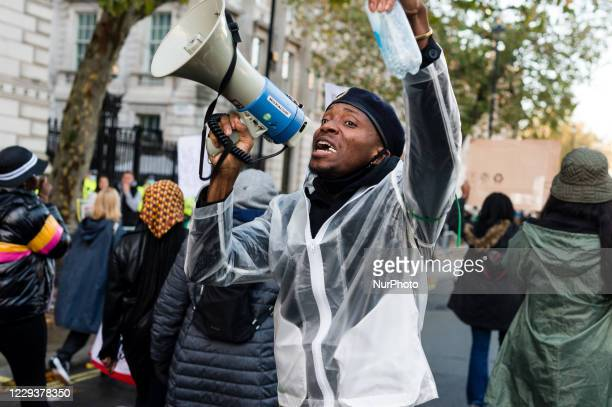 Group of people gather to protest against brutality of Nigerian Special Anti-Robbery Squad in London, Britain, 31 October 2020. UN Secretary General...