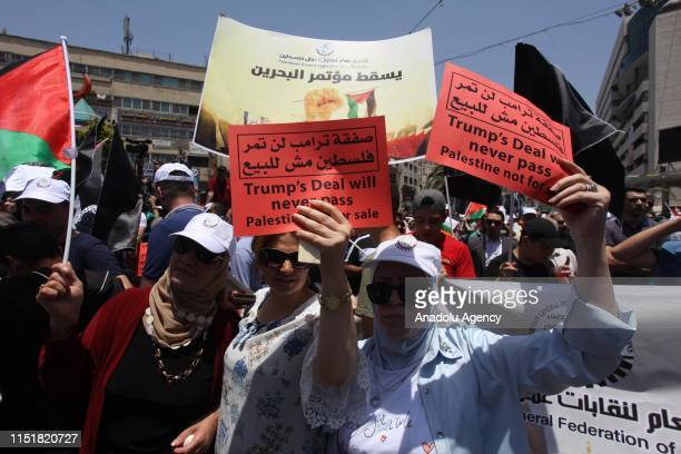Group of people gather to protest against the U.S.-led conference in Bahrain, on June 25, 2019 in Nablus, West Bank. U.S. Officials are expected to...