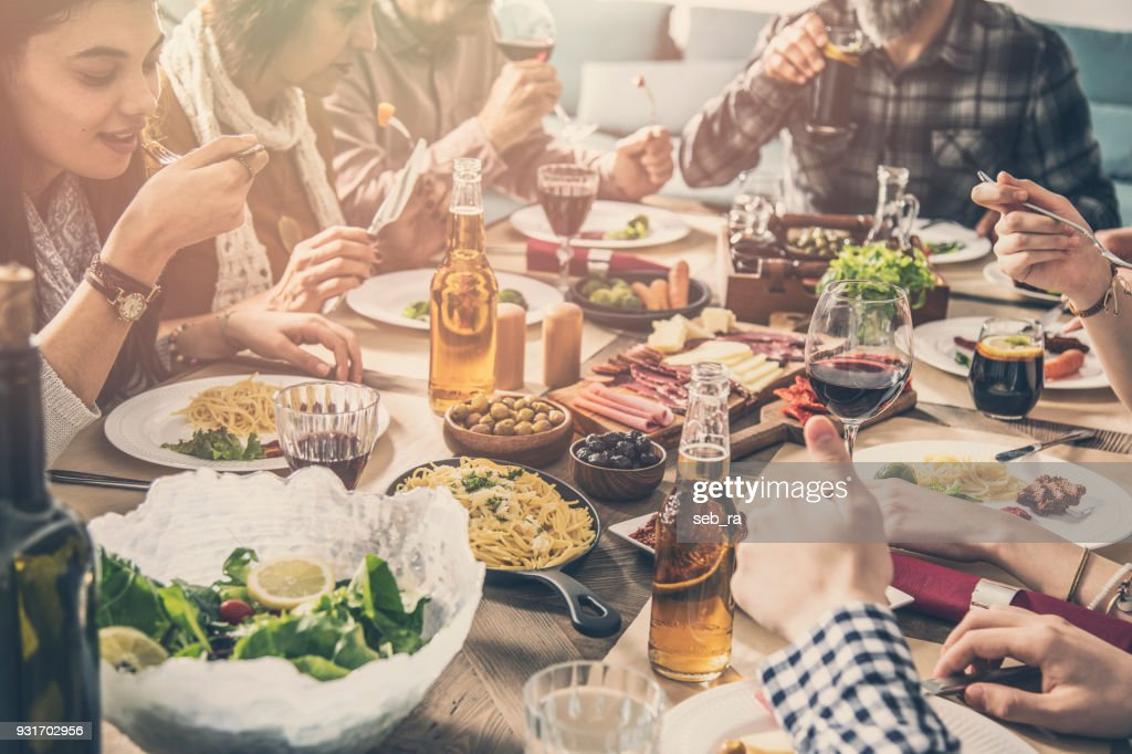 Group of people having meal togetherness dining : Stock Photo