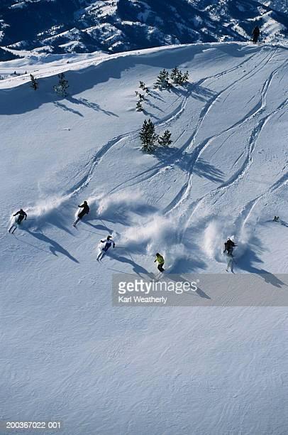 Group of people heli skiing, overhead view, Sun Valley, Idaho, USA