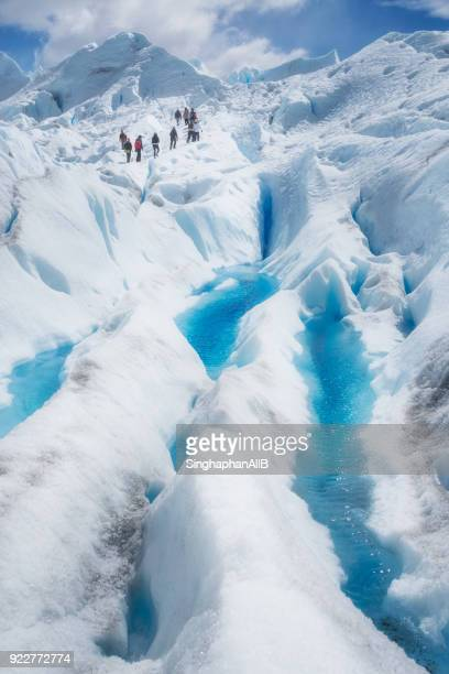 group of people hiking at perito moreno - los glaciares national park stock pictures, royalty-free photos & images