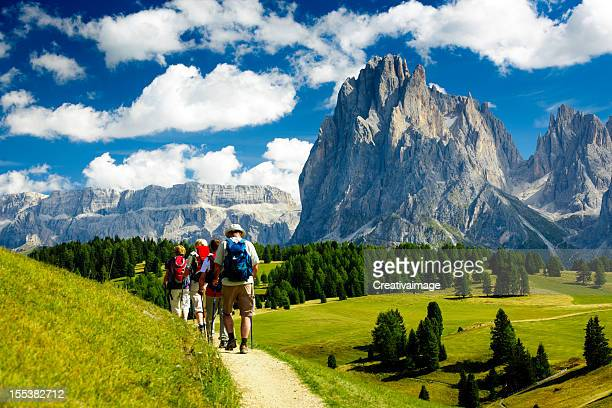 group of people hiking in the nature - dolomites stock pictures, royalty-free photos & images