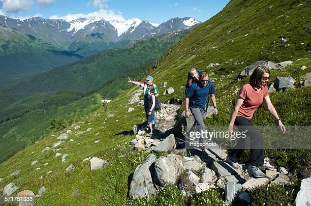 Group of people hiking, North Face Trail, Alyeska Prince Hotel, Alyeska Resort, seven glaciers, Winner Creek Valley, Turnagain Arm, Mt. Alyeska, Girdwood, Alaska, USA