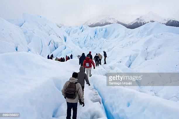 Group of people hiking on Perito Moreno glacier