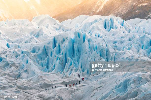 group of people hiking on the perito moreno glacier, argentina - patagonia foto e immagini stock