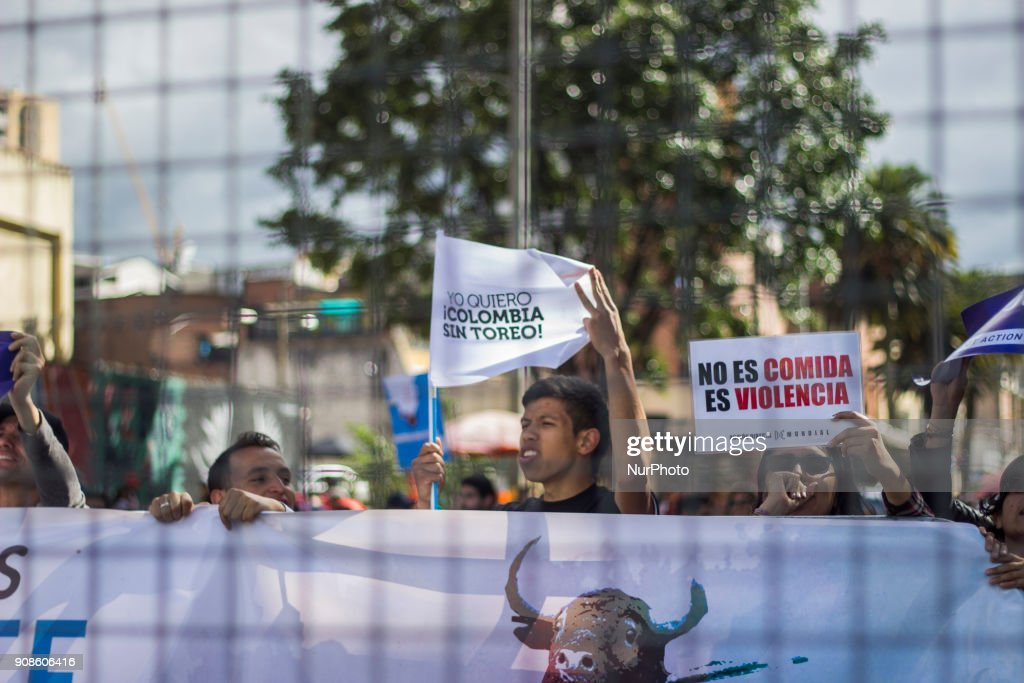 Protest against the bullfight in Bogota