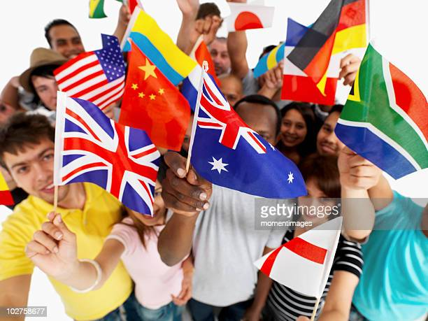 Group of people holding flags